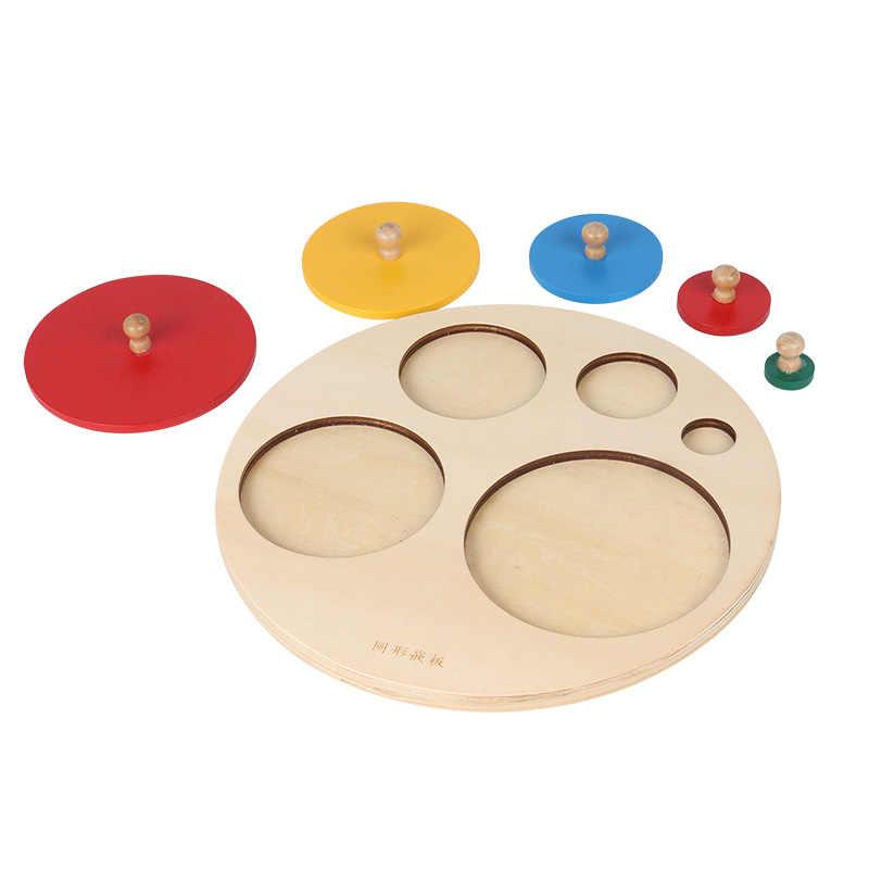 Materiales Montessori Panel redondo niños juguetes educativos juguetes de matemáticas mano apretando el tablero de rompecabezas juguete de educación preescolar