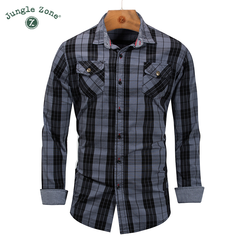 European size High quality cotton shirt Mens Casual plaid shirt Men shirts long sleeves  ...