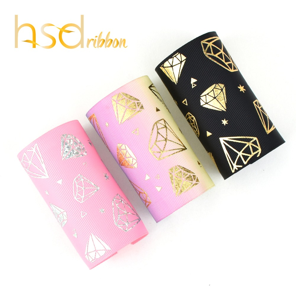 HSDRibbon 75MM 3 inch custom Masonry style silver gold laser Foil Printed on Grosgrain Ribbon