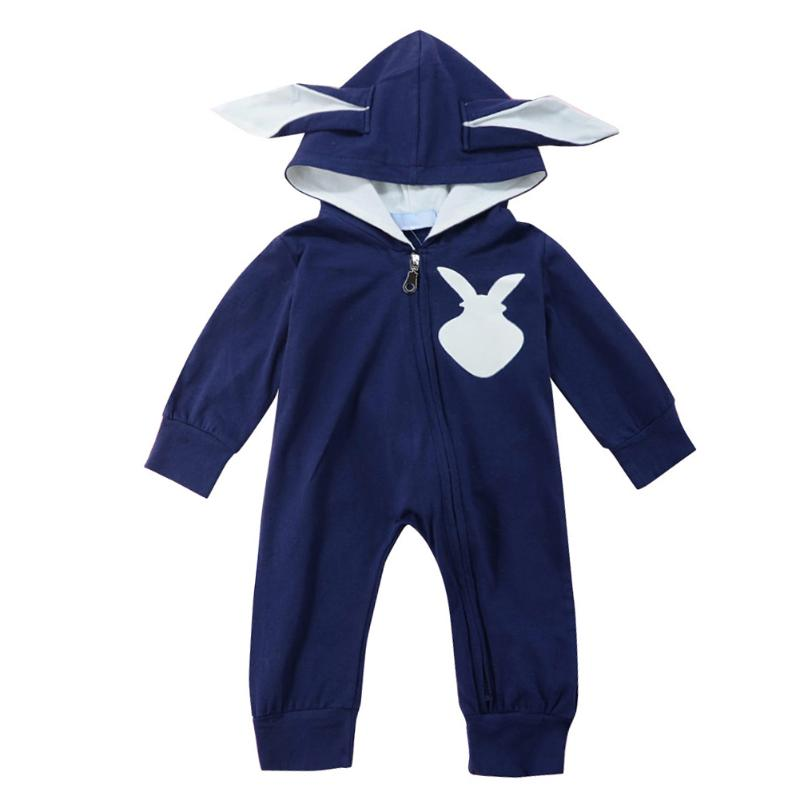 Winter Warm Newborn Girl Boy One-piecer Clothes Playsuit Rabbit 3D Ear Zipper Longo Sleeve Hooded Romper Jumpsuit