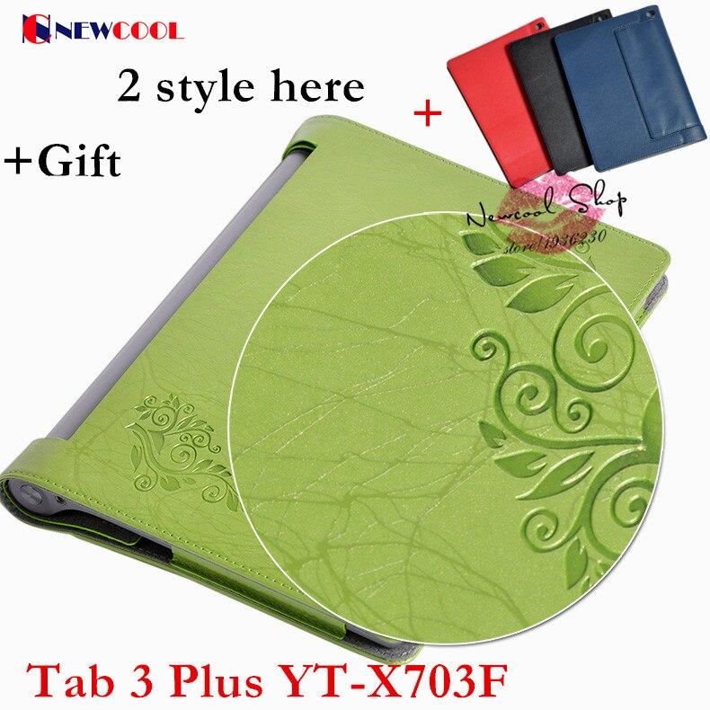 Yaga Tab3 plus Elegant Floral PU Leather Case Flip Cover For Lenovo Yoga Tab3 Tab 3 Plus YT-X703F 10.1 tablet funda case Cover
