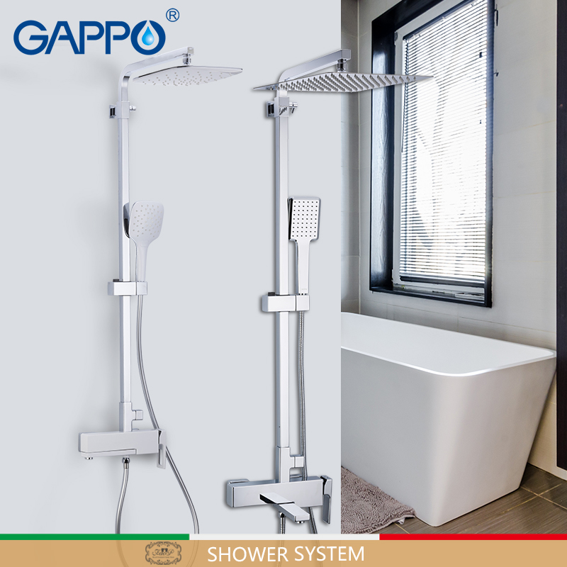 GAPPO Sanitary Ware Suite brass bathroom shower set wall mounted massage shower head chrome bath mixer bathroom shower faucet