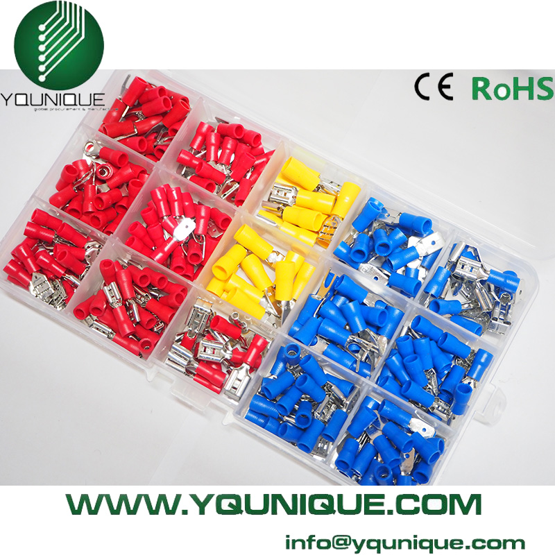 Free Shipping 260Pcs Assorted Crimp Terminals Set Insulated Terminals Electrical Crimp Connector Spade Ring Fork Assortment Kit цена