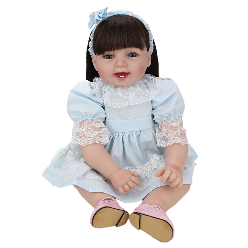 22 Handmade Silicone Reborn Baby Dolls Lifelike Vinyl Smile Princess Dolls Alive Toddler Doll Cute Toys for Children Kids Gift short curl hair lifelike reborn toddler dolls with 20inch baby doll clothes hot welcome lifelike baby dolls for children as gift