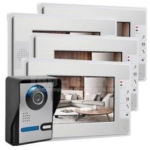"""DIYSECUR Videoportero Con Cable Video de La Puerta Teléfono Kit Ir Cámara de Visión Nocturna 7 """"Monitor LCD 1V4 Desbloqueo Interior"""