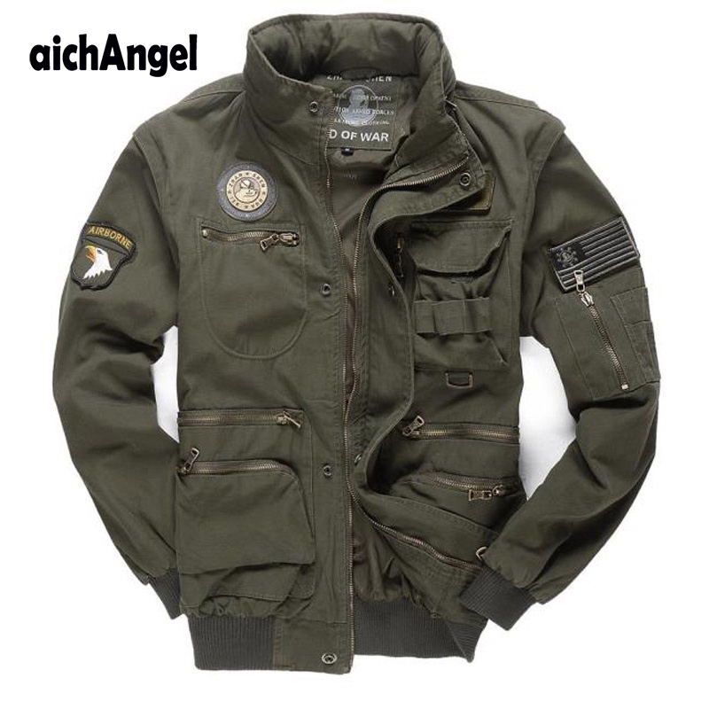 Mens Army Pilot Jackets Multipocket Militare Bomber Jacket Men Removable Sleeve Tactical Military Uniform Coat