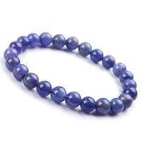 7mm Genuine Natural Tanzanite Blue Gemstone Bracelet Round Beads Stretch Woman Beads Man Crystal Party Fashion Bracelet AAAAA