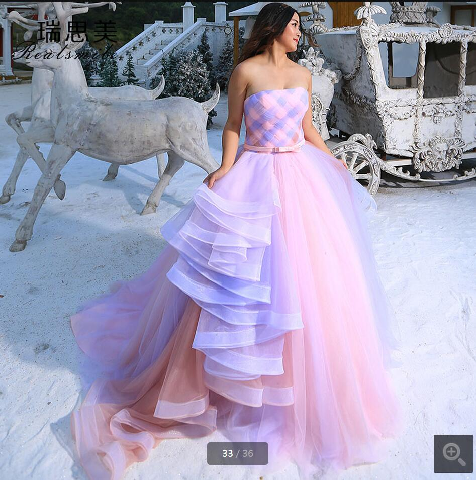 2016 New Arrival Pink Ball Gown Pleated Chapel Train Wedding Dress Cheap Princess Puffy Long Bridal Gowns Best Selling