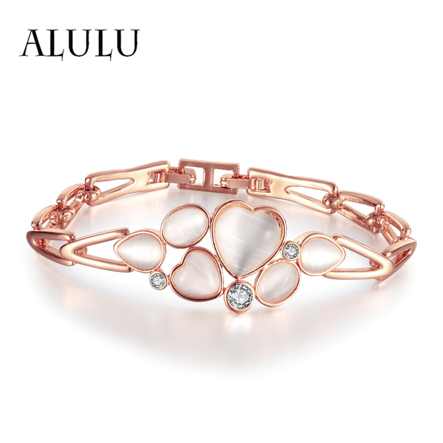 Alulu Soulmate Bracelet Heart Shaped Opal Inlay Austria Rhinestone Plated Rose Gold F Jewelry