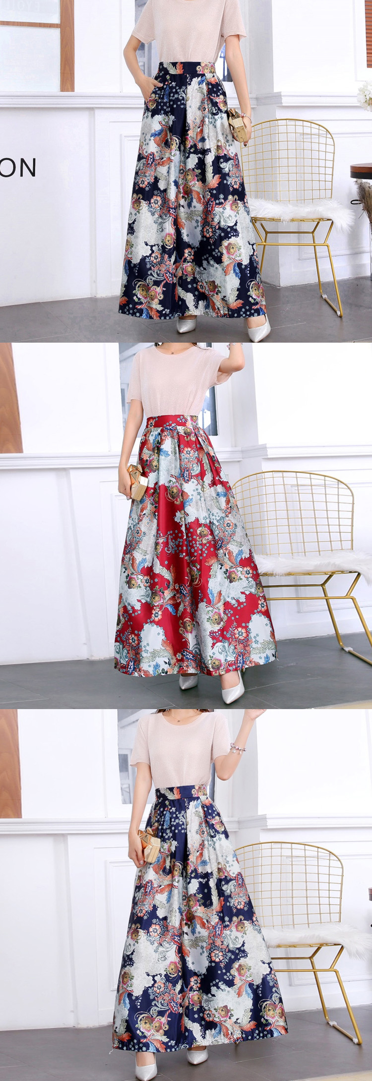 HTB1FRpOUxTpK1RjSZFMq6zG VXae - Plus size Maxi Skirt Summer Fashion Vintage High Street A-line High Waist Floral Polka Dot Long Skirts for Women Jupe Longa
