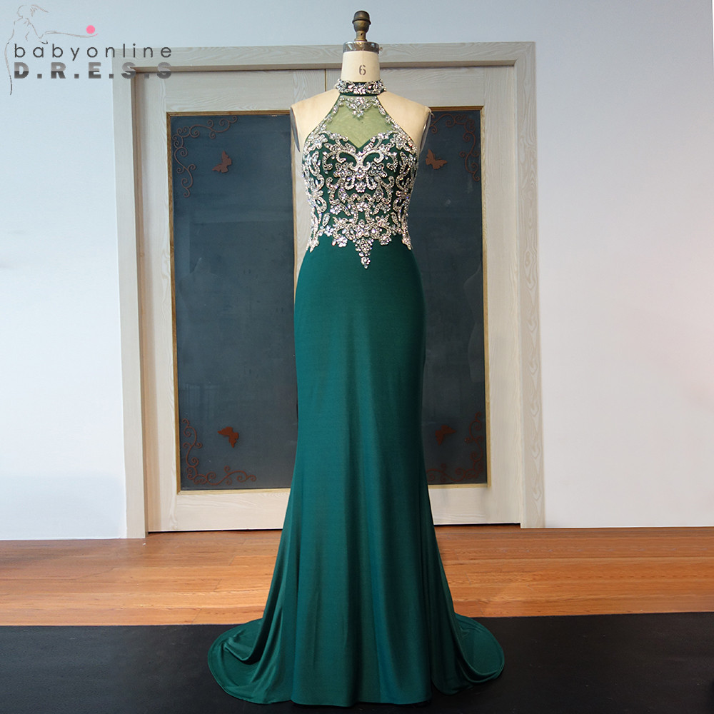 Sexy Transparent Green Halter Neck Mermaid Prom Dresses Long Luxury Beaded Crystals Sleeveless Evening Party Dresses