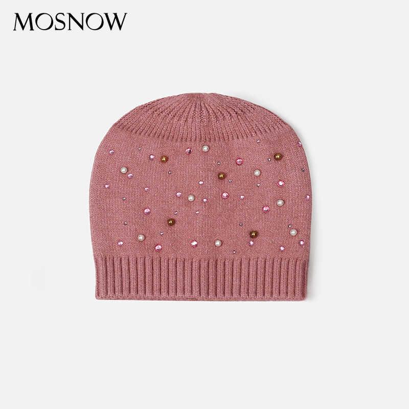 Sombreros de punto de lana para niños bonitos con perlas y diamantes de imitación gorro de ganchillo para niños sombreros cálidos de invierno para bebés y niñas beanie Cap