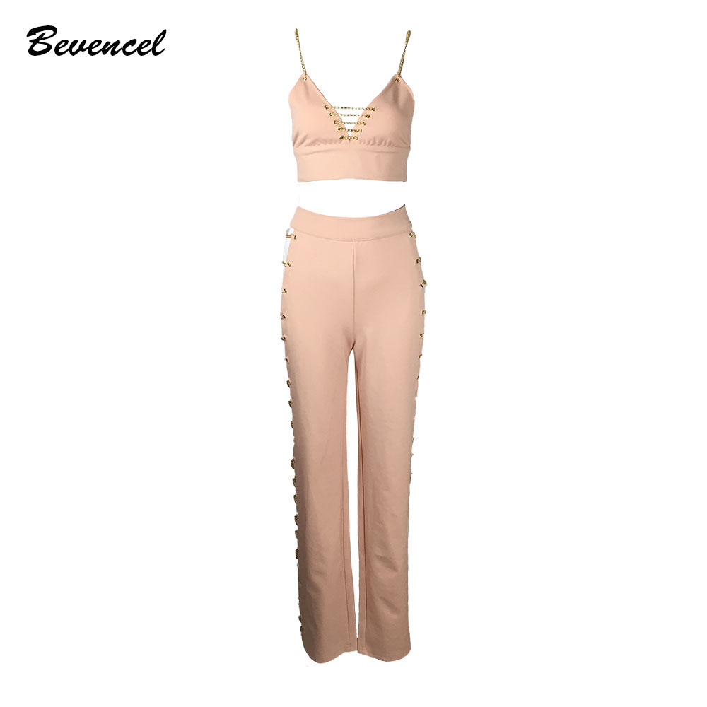2017 Summer new Fashion pink black Chain Lace Up Hollow Out 2 Two Pieces Set Celebrity Wholesale Women Stretch Crepe pantsuit