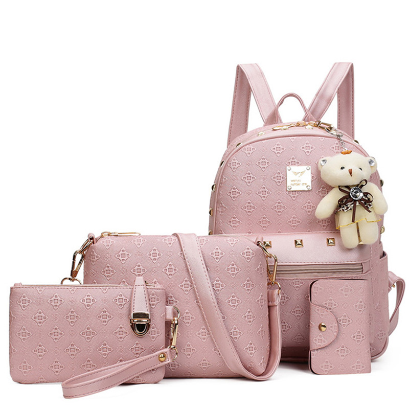 Women Bags Composite Bag Leather Backpack Women Cute Bear 4 Sets Rivets Handags And Purse School Backpacks For Teenage Girls 4pcs set women fashion backpack pu leather teenage school bag casual clutch crossbody travel bags for girls with purse and bear