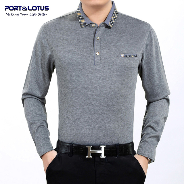 Port&Lotus Polo Shirt Men Brand Clothing Polos Brand Solid Color Long Sleeve Turn Down Collar Cheap Polo Shirt JSL 003 818A