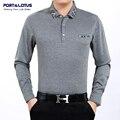 Puerto y loto camisa de polo hombres de la marca polos ropa de la marca de color sólido camisa de polo de manga larga turn down collar cheap jsl 003 818A
