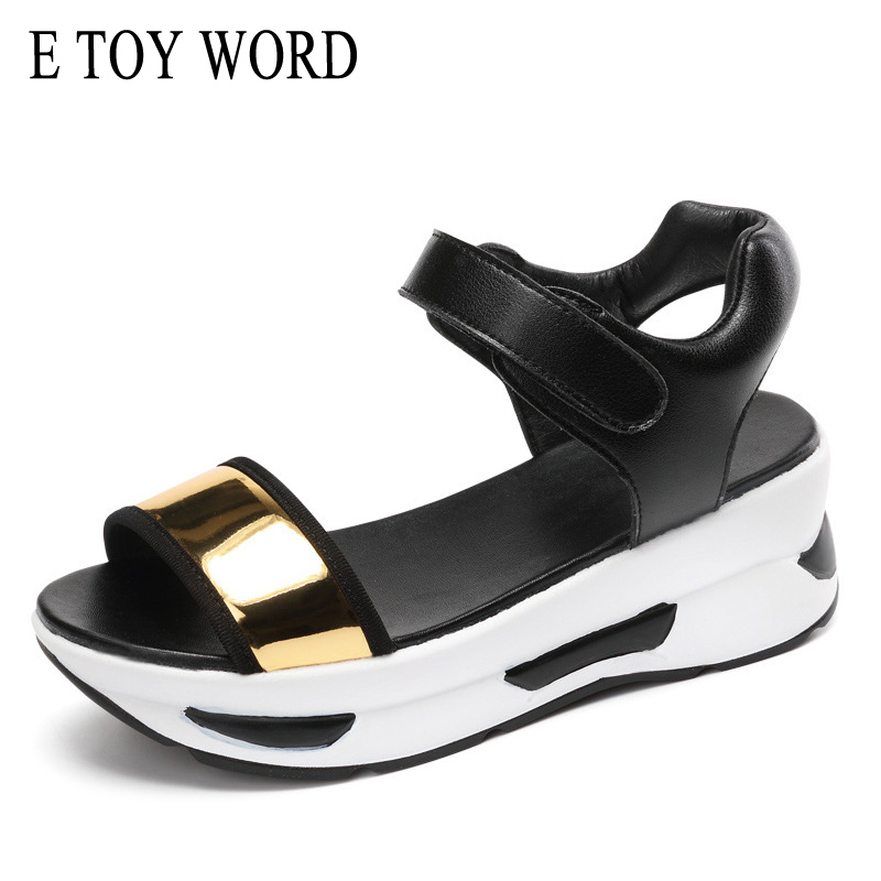 E TOY WORD 2018 New Summer thick casual women shoes wedges hook & loop sneaker students platform high heel sandals Sequins e toy word summer platform wedges women sandals antiskid high heels shoes string beads open toe female slippers
