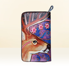2016  Fashion Women Genuine Leather Cowhide Sika Deer Freehand Painting Bag Wallet Card Money Holder Clutch Wallets Phone Pocket