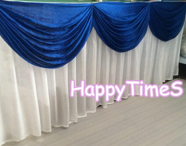 5pcs/lot White Table Skirt With Royal Blue Swags Luxury Wedding Table  Decorations With Metal