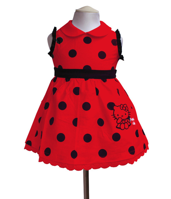 Baby Girl Fashion Polka Dot Summer Sleeveless Dresses Girls Cotton Dress Child Hello Kitty Princess Party Dress Clothing
