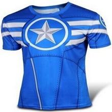 2016, the new leisure brand pure blue captain America short sleeve T-shirt fashion news superhero T-shirt free shipping
