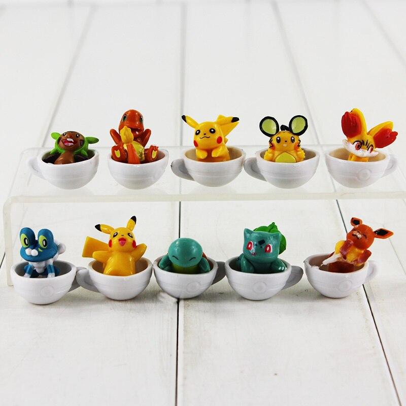 10ピース/セット3センチアニメチャームマン潮吹きブルバゾールFroakie Dedenne Fennekin Wobbuffetフィギュア玩具PVC人形偉大な贈り物