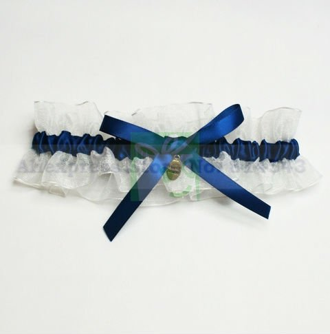 Organza Wedding Garters With Royal Blue Bowknot & Pendant Personalized Bridal Garters for Wedding Free Shipping Retails
