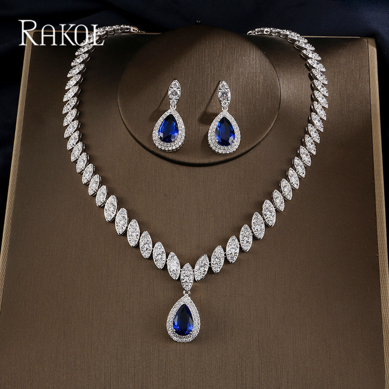 RAKOL Dubai Luxury Crystal Bridal Jewelry Sets For For Bridesmaids AAA Cubic Zircon Blue Wedding Necklace And Earrings Women rakol 2018 new wedding costume accessories heart shape cubic zircon crystal bridal earrings and rhinestone necklace jewelry set