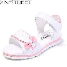 Xinfstreet/летние сандалии для девочек; мягкие детские сандалии с бантом; детские кожаные пляжные сандалии принцессы для девочек-подростков; размеры 27-38