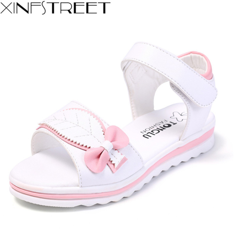 Xinfstreet Summer Girl Sandals Bow Soft Children Sandals Kids Leather Beach Princess Sandals For Teen Girls Size 27-38