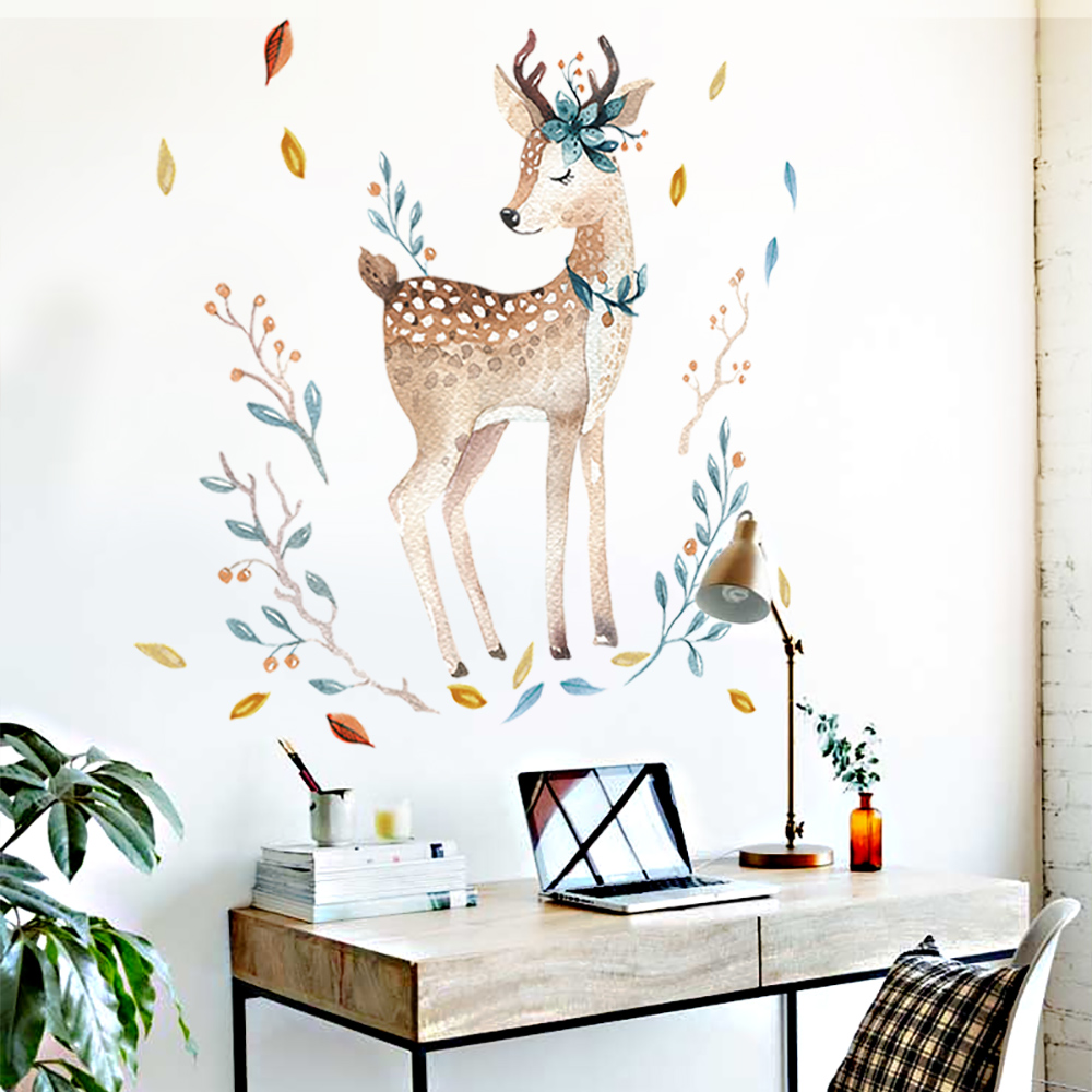 Study Room Decoration Diy: Painted Fawn Wall Stickers For Living Room Decoration DIY