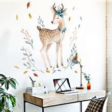Painted fawn Wall Stickers For living room Decoration DIY Removable Wall Decal studyroom Home Decor QTM289