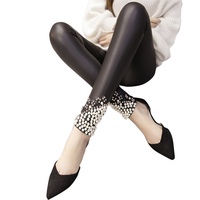 Women Leggings Faux Leather Thick Warm Legging High Waist Stretch Skinny Beads Pearl Pencil Pants Leggins