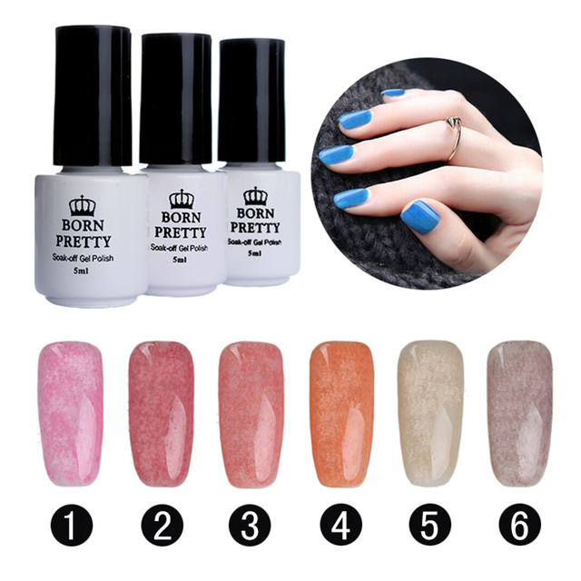 BORN PRETTY Fur Effect Soak Off Gel Polish Manicure 6 Colors/set 5Ml Nail Art UV Gel Polish Winter Style 1-6