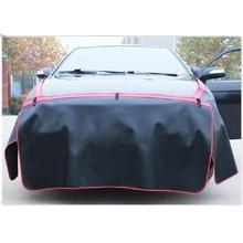 CHIZIYO 3 Unids/set Negro PU Leather Car Hoja Junta Pad Cuerpo Guardabarros Protector Almohadilla de Protección Con Gancho Imán de Reparación de Vehículos
