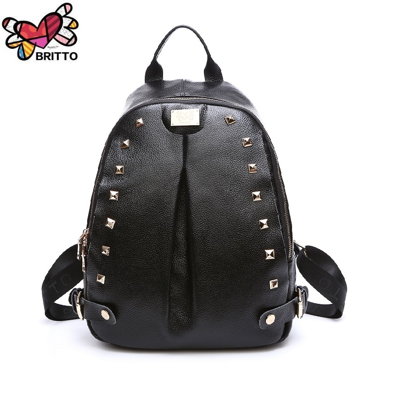 Purchase BRITTO Multi Function Genuine Leather Backpack Leisure Laptop School Bags Travel Shoulder Bag