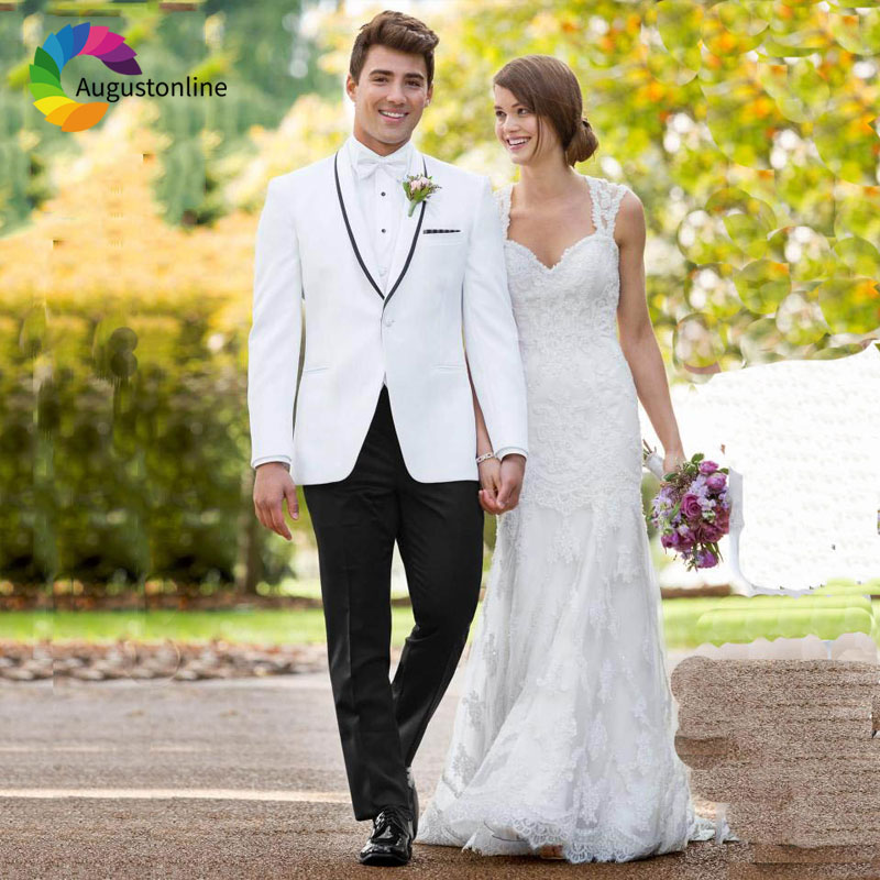 Custom Made White Men Suits for Wedding Pants Black Shawl Lapel Best Man Blazers Jacket 2Piece Slim Fit Groom Tuxedos