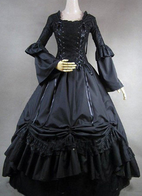2017 Black Long Sleeves Ruffles 18th Century Gothic Victorian Dresses  Halloween Victorian Ball Gown Dress 55af56c6e0db