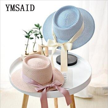Ymsaid New Summer Sun Hats Women Fashion Girl Straw Hat  Ribbon Bow Beach Hat Casual Straw Flat Top Panama Hat Bone Feminino 3