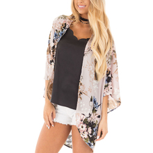 2018 Women Casual Chiffon Floral Printed Half Sleeve Fashion Hot Beach Cover Up Kimono Cardigan Blouse Tops Bathing Suit ruoru 2017 beach cover up coat clothes plus size chiffon kimono blouse shirt women floral chiffon women tops for kimono cardigan