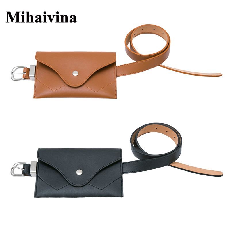 Mihaivina Fanny Packs For Women Leather Belt Bag Waist Pack Fashion Chest Envelope Phone Pouch Bags Ladies Waist Bag Bum Bolosa