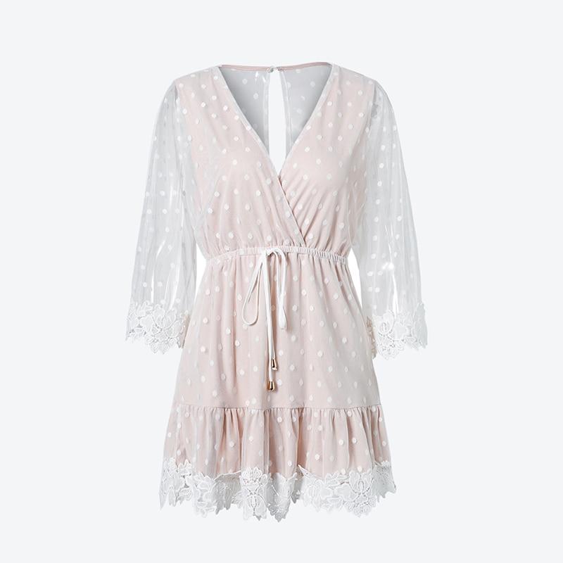 Elegant V-Neck Dot White Mesh Dress 1
