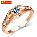 GR.NERH Rose Gold Plated Mounting 0.5 ct Zirconia Simulated Diamond Fashion Jewelry Ring Retail&wholesale