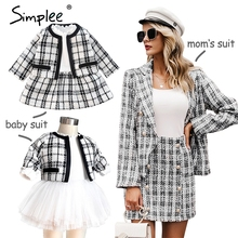 Mother and kids Tweed plaid two pieces skirt suit Matching mom baby family clothes outfits Chic cute baby mom autumn blazer suit