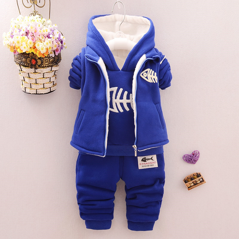 3 pcs baby boy clothing set boys navy blue hooded warm winter coat with plush thick baby vest children long pants kids trousers