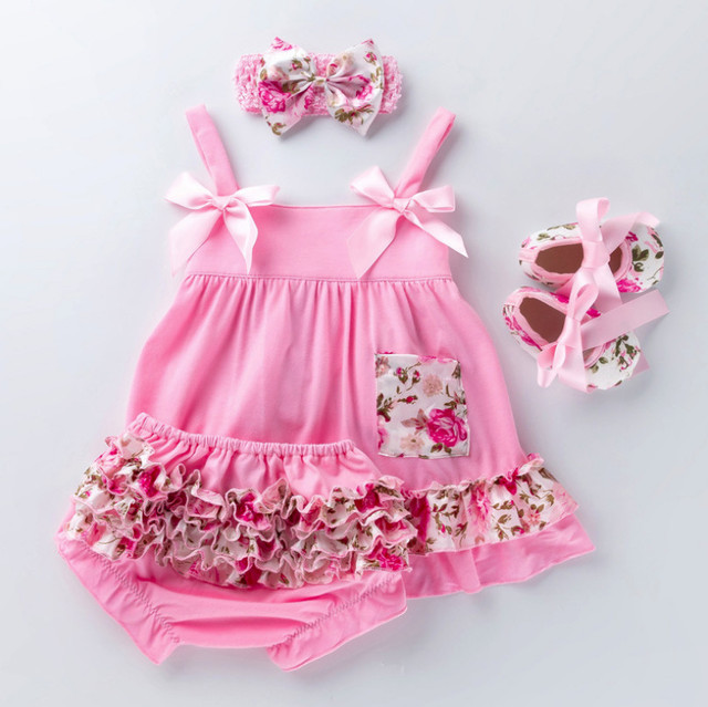 High Quality Toddler Posh Petti Lace Ruffle Bloomers Panties+Bow Sling tutu Dress+Headband+Shoes Baby Girl Cotton Clothing setsshirts outfitdress shirt mensdress shirt pattern