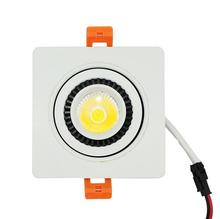Square Dimmable COB led Downlight 9W 12W Recessed LED Ceiling light Spot Lamp 360 Degree Adjustable COB Downlight AC85-265V free shipping 12w dimmable recessed warm cold white led downlight cob led spot light led ceiling lamp ac85 265v