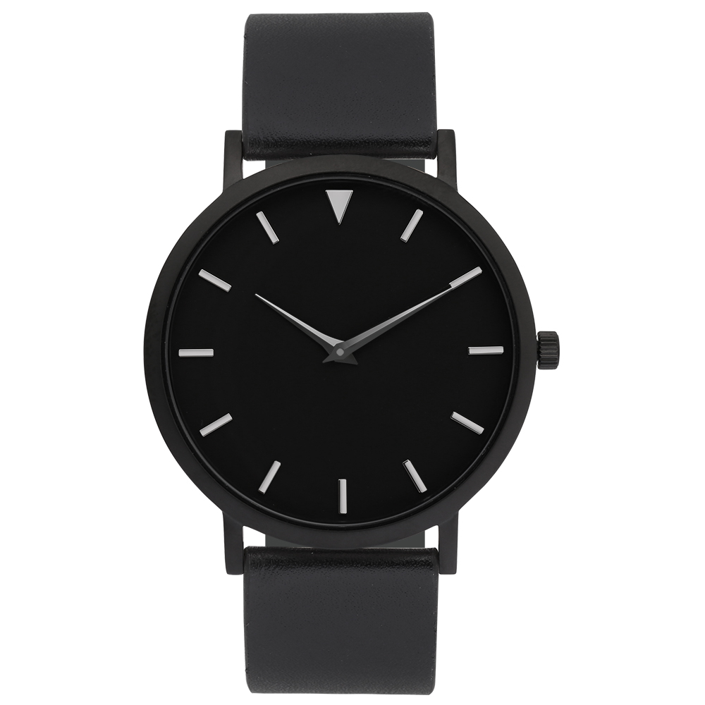 Watches Women Black Leather Strap 2 Years Warranty, Watches 316L Stainless Steel Simple Dial Face Clocks