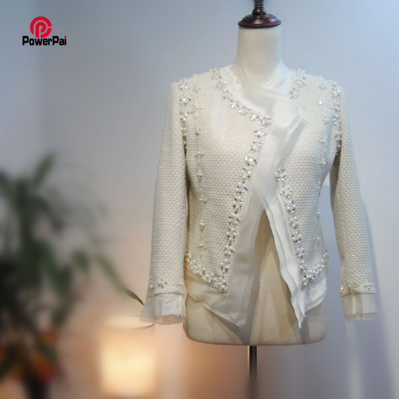 Senior Custom Delicate Luxury Tweed Jacket Fashion Silk Beading Fine Glass Diamond White Coat Women Spring Autumn New