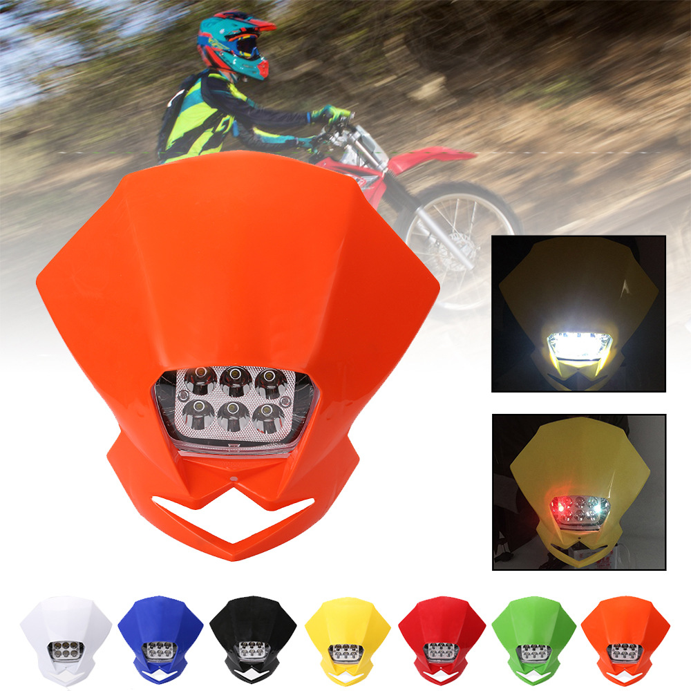 SPEEDPARK Universal Motocross LED Headlights Lamp Enduro For KLX KDX KTM RMZ DRZ DR XR YZ CR